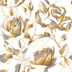 Seamless pattern with gold Rose flowers, leaves and buds on a white background. Vector illustration.