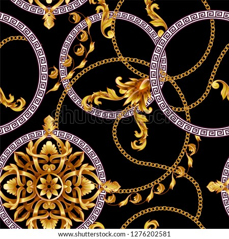 Seamless pattern with golden baroque elements and black backroun