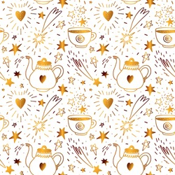 Seamless pattern with golden magic elements. Gold pattern of various celestial figures and shapes: teapot, mug and many stars. Vector stock illustration drawn by hand on a white background.