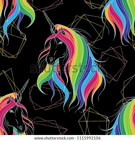 Seamless pattern with golden polygonal shapes and unicorn with rainbow mane. Design concept for print, card, poster, wallpaper. Vector illustration