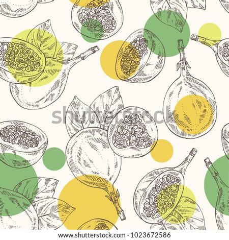 Seamless pattern with granadilla: fruit, granadilla slice and leaves. Vector hand drawn illustration.