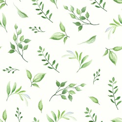 Seamless pattern with green leaves, vector illustration in vintage watercolor style.