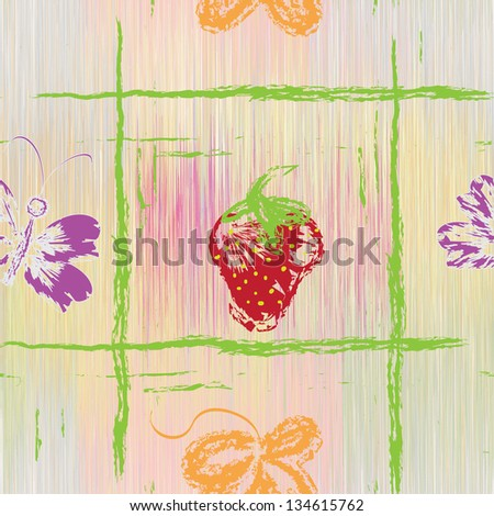 Seamless pattern with grunge strawberry,butterfly and leaf on striped pastel background;