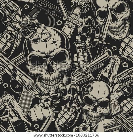 seamless pattern with guns