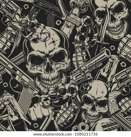 Seamless pattern with guns skull and grenade. vector illustration
