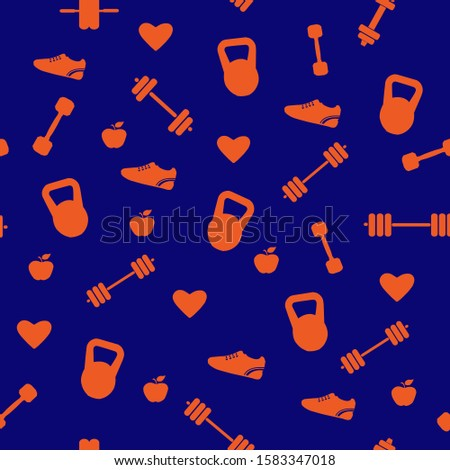 seamless pattern with gym icons, dumbbells, kettlebells, jumping rope, running shoe,ab wheel roller, heart, apple