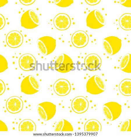 Seamless pattern with half lemon and sliced lemon. Juicy lemon. Tropical background with lemon. Summer background.
