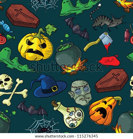 Seamless pattern with Halloween doodles
