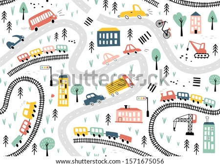 Seamless pattern with hand drawn cars, trains and road. Cartoon background for Kids. Vector illustrations