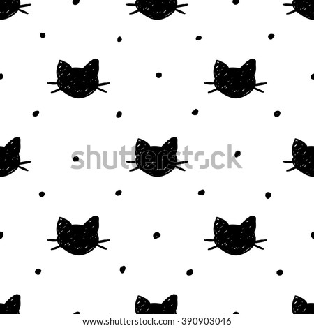 Seamless pattern with hand drawn cats. Ink doodle.
