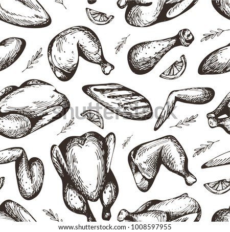 Seamless pattern with hand drawn chicken meat