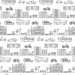 Seamless pattern with hand drawn city street elements. Vector illustration of urban transportation doodles for backgrounds, card, posters, textile prints, covers, fliers
