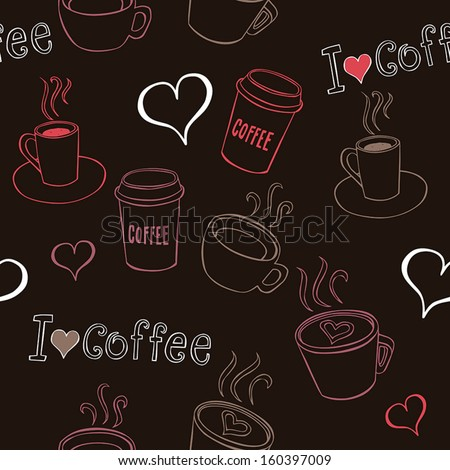 Seamless pattern with hand-drawn coffee cups