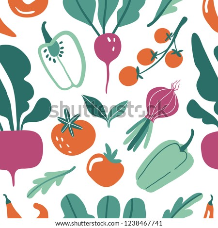 Seamless pattern with hand drawn colorful doodle vegetables. Vector texture.  Flat icons: pepper, radish, beet, tomato. Vegetarian healthy food. Vegan, farm, organic, natural background