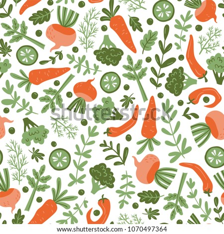 Seamless pattern with hand drawn colorful doodle vegetables. Vegetarian meal. Vegetable repeated background. Healthy restaurant  menu. #1070497364