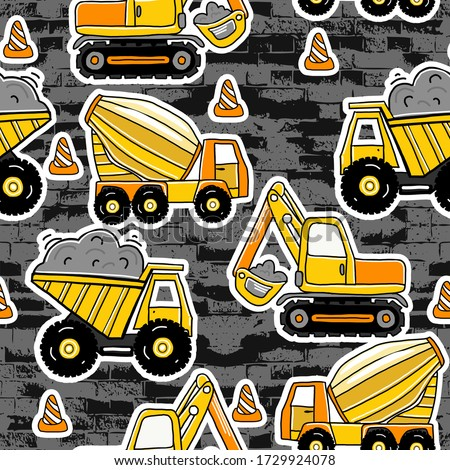 seamless pattern with Hand drawn construction machines . Kids background for  textile,  fashion, wrapping paper, graphic tees