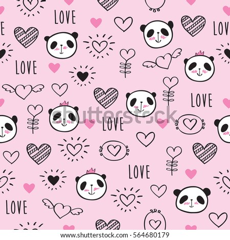 Seamless pattern with hand drawn cute pandas and hearts for Valentine's Day, mother's day, birthday, wedding. Pink background. Doodles, sketch. Vector illustration.
