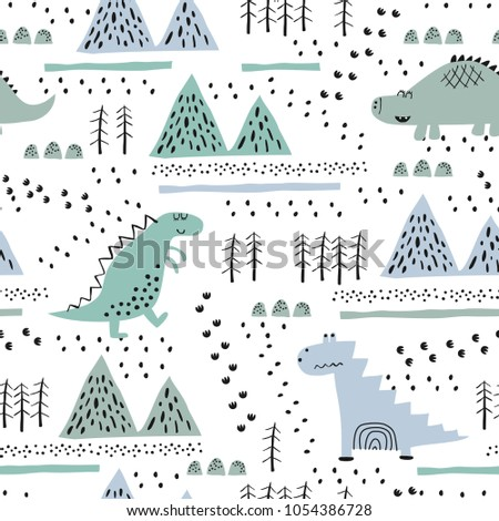 Seamless pattern with hand drawn dino in scandinavian style. Creative vector childish background for fabric, textile, nursery wallpaper. Vector Illustration.