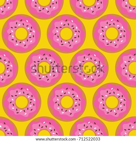Seamless pattern with hand drawn donuts. Vector illustration, collection of confectionery. Colorful overlapping background with food icons. Decorative wallpaper, good for printing for cafe