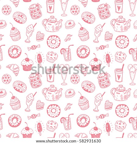 Stock Photo Seamless pattern with hand drawn doodle dessert