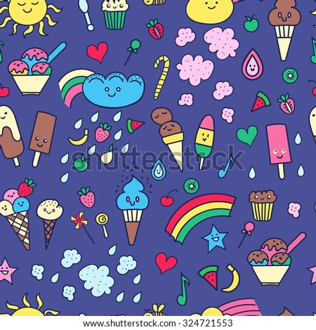 Seamless pattern with hand-drawn doodle elements in children style: rainbow, candies, fruit, sweets #324721553