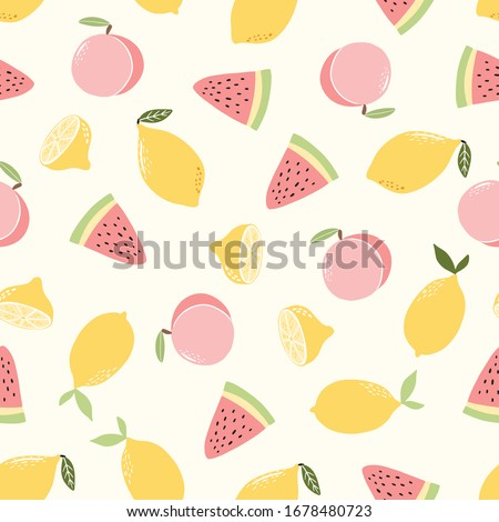 Seamless pattern with hand drawn doodle hand drawn vector scandinavian style lemon,watermelon, peach fruits.Tileable repeating background for branding,package, fabric and textile, wrapping paper