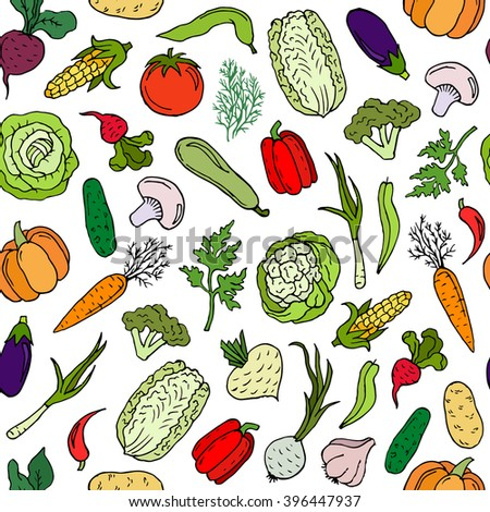 Seamless pattern with hand drawn doodle vegetables on white background. For printing, cloth design, wallpaper, wrapping, web page background, surface textures, menu, restaurant, cafe, kitchen. Object.