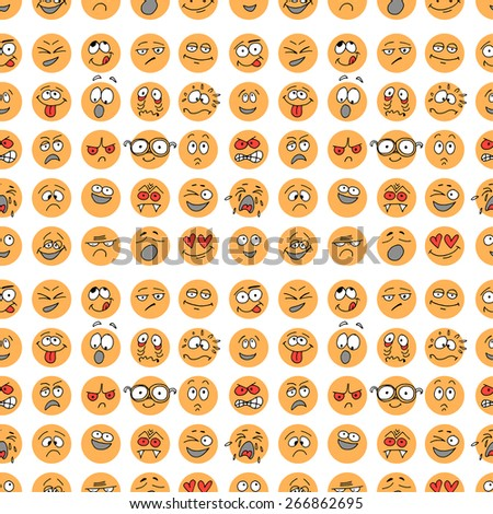 Seamless pattern with hand drawn emoticons, doodle characters