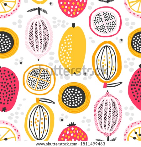 Seamless pattern with hand drawn exotic fruits. Abstract summer fruit background. Vector texture great for fabric and textile, wallpapers, wrapping, backgrounds. Vector illustration.