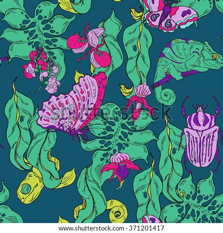 seamless pattern with hand