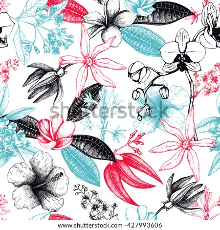 Seamless pattern with hand drawn exotic plants sketch. Tropical flowers, leaves and twigs background. Vintage summer design with natural elements