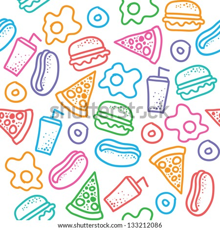 seamless pattern with hand drawn fast food