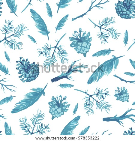 Seamless pattern with hand drawn feathers and branches, pine cones. Isolated objects. Vector background #578353222