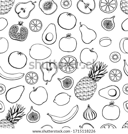 Seamless pattern with hand drawn fruits elements on a green background. Vegetarian wallpaper. For design packaging, textile, background, design postcards and posters.