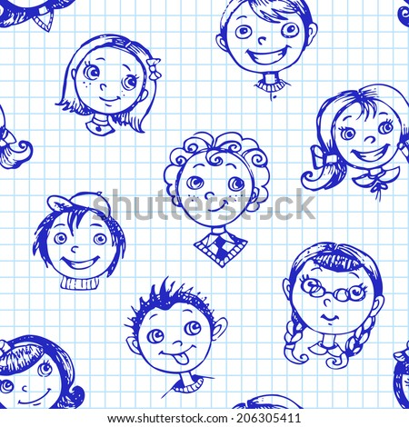 Seamless pattern with hand-drawn kids on square lined background. Vector illustration