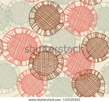 Seamless pattern with hand drawn lace circles. Endless bright decorative background. Vector netting texture. Clip art