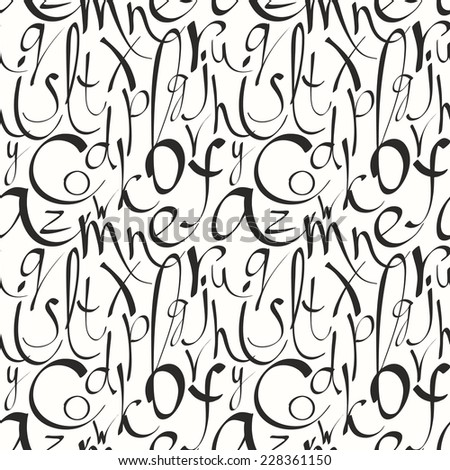 Seamless pattern with hand drawn letters Vector illustration