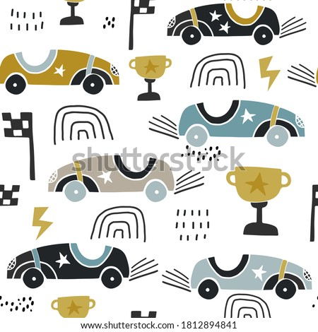 Seamless pattern with hand drawn retro racing cars. Cartoon car vector texture illustration.Perfect for kids fabric,textile,nursery wallpaper
