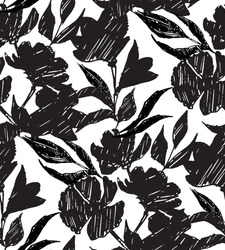 Seamless pattern with hand drawn rose flower and leafs in black and white. Vector graphic illustration for fashion t shirt, textile design, all over printing. Grunge block stamped style