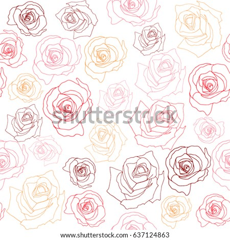 Seamless Pattern With Hand Drawn Roses EZ Canvas