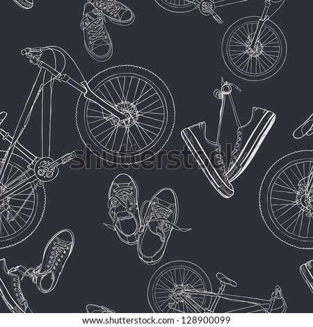 Seamless pattern with hand drawn sneakers and mountain bicycles. Vector background.