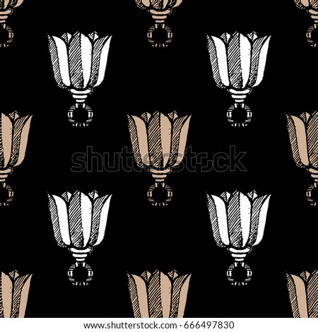 Seamless pattern with hand drawn tulips. Vector Illustration