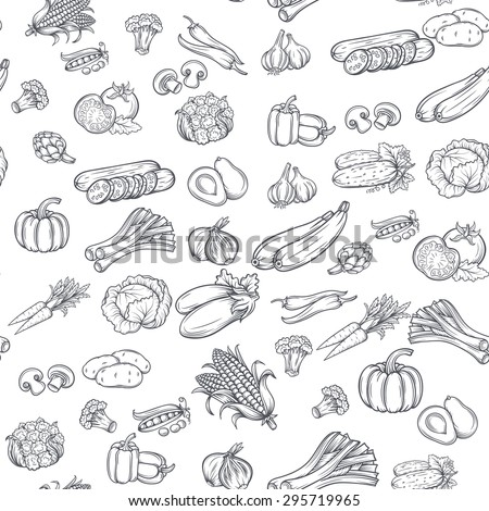 Seamless pattern with hand drawn vegetables. Vector illustration.  Isolated on white background #295719965