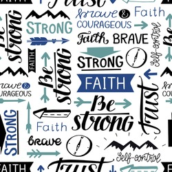 Seamless pattern with hand drawn words Faith, Strong, Brave, Trust. Biblical background. Christian design. Scripture print.