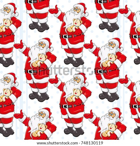 Stock Photo Seamless pattern with Happy New Year Christmas Santa Claus Vector Illustration EPS8
