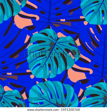 Seamless Pattern with Hawaiian Rainforest. Trendy Colorful Texture with Tropical Leaves for Paper, Swimwear, Cloth. Vector Tropical Pattern.