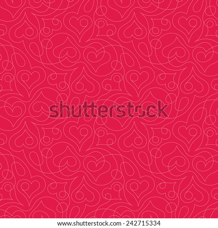 Seamless pattern with heart shapes and scroll lines vector illustration