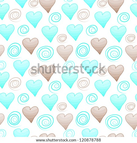 Seamless pattern with hearts and curls