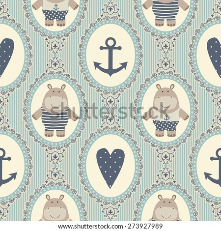 Seamless pattern with hearts and hippos. Stockfoto ©