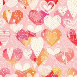 Seamless pattern with hearts. Freehand drawing. Can be used on packaging paper, fabric, background for different images, etc.